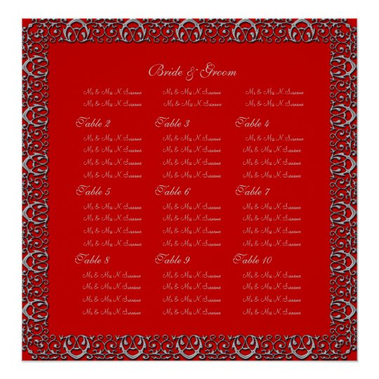 Silver red wedding seating charts border