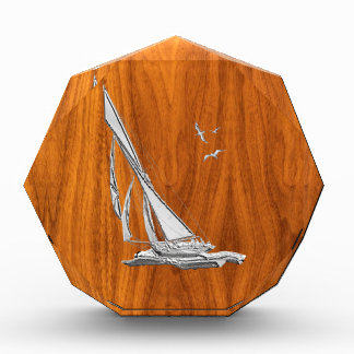 Silver Regatta Sailboat on Teak Veneer Award
