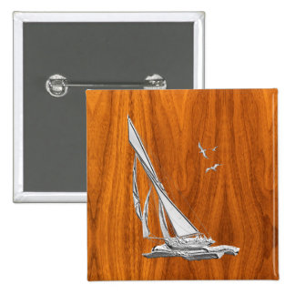 Silver Regatta Sailboat on Teak Veneer Button