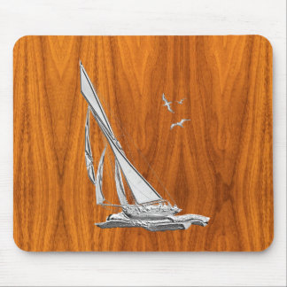 Silver Regatta Sailboat on Teak Veneer Mouse Pad