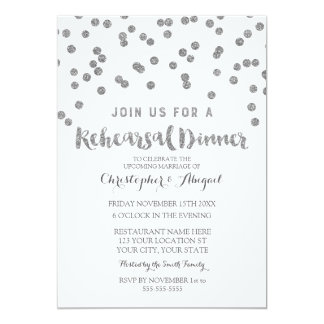 Silver Rehearsal Dinner Party Invitation