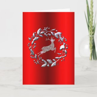 Silver Reindeer and Wreath Red Christmas Card