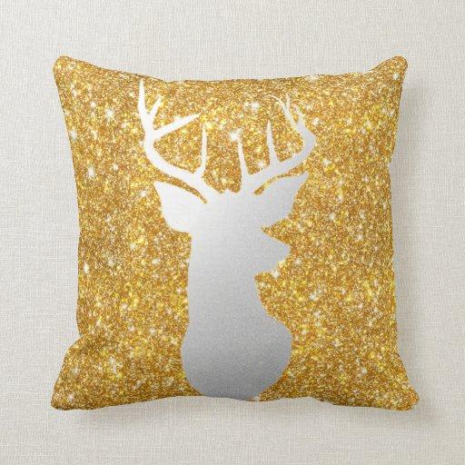 Antler Throw Pillow : Silver Reindeer Antler Modern Gold Faux Glitter Throw Pillow Zazzle