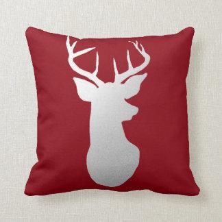 Silver Reindeer Antler Modern Silhouette Red Throw Pillow