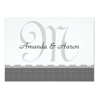"""Silver Retro Squares and Lace Wedding Collection 5"""" X 7"""" Invitation Card"""