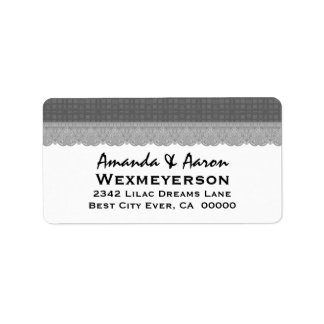 Silver Retro Squares and Lace Wedding Collection Address Label