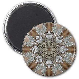 Silver Rhinestones Steampunk Mandala 2 Inch Round Magnet