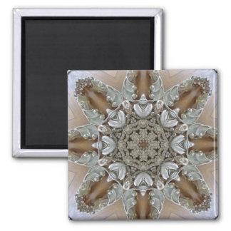 Silver Rhinestones Steampunk Mandala 2 Inch Square Magnet