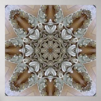 Silver Rhinestones Steampunk Mandala Poster