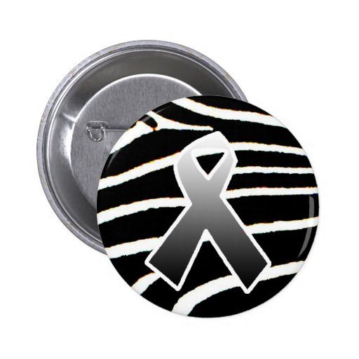 Silver Ribbon 2 Inch Round Button