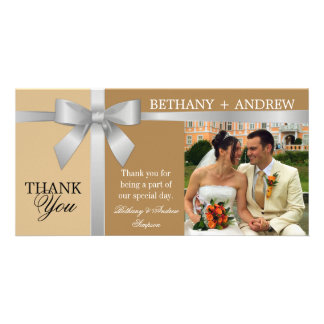 Silver Ribbon and Antique Gold Wedding Thank You Card