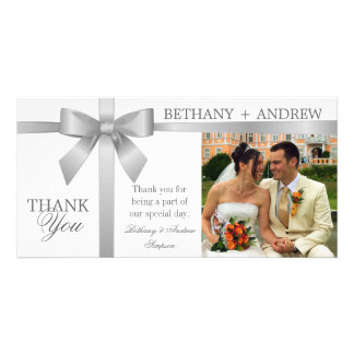 Silver Ribbon and White Wedding Thank You Card