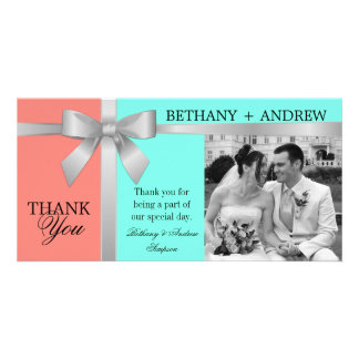 Silver Ribbon Aqua Coral Pink Wedding Thank You Card