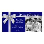 Silver Ribbon Bow First Christmas Photo Cards