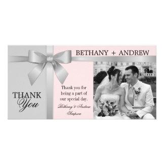 Silver Ribbon Gray Pink Wedding Thank You Card
