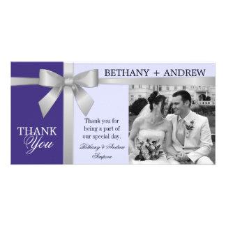 Silver Ribbon Lavender Purple Wedding Thank You Photo Card