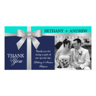 Silver Ribbon Navy Turquoise Wedding Thank You Card