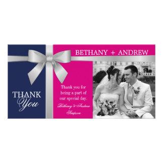 Silver Ribbon Purple Fuchsia Wedding Thank You Photo Card