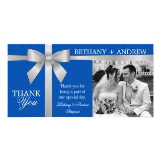 Silver Ribbon Royal Blue Wedding Thank You Photo Card