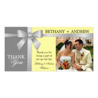 Silver Ribbon Yellow Gray Wedding Thank You Card