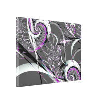 Silver Ribbons Abstract Fine Art Canvas Print