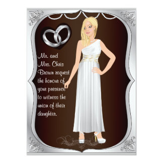 Silver Ring Bride Heart Brown Wedding Invitation