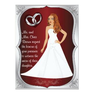 Silver Ring Bride Heart Dark Red Wedding Invite