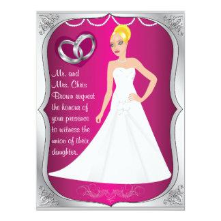 Silver Ring Bride Heart Fuchsia Wedding Invitation