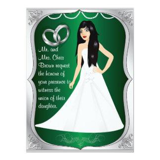 Silver Rings Bride Heart Green Wedding Invitation