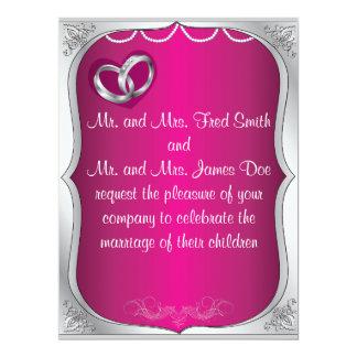 Silver Rings Pearls & Fuchsia Wedding Invitation