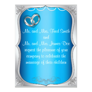 Silver Rings Pearls Amp Turquoise Wedding Invitation