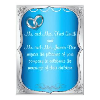 "Silver Rings Pearls & Turquoise Wedding Invitation 6.5"" X 8.75"" Invitation Card"