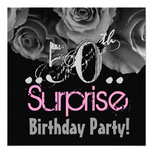 Personalized 50th birthday party invitations custominvitations4u silver rose bouquet 50th surprise birthday party custom invite filmwisefo