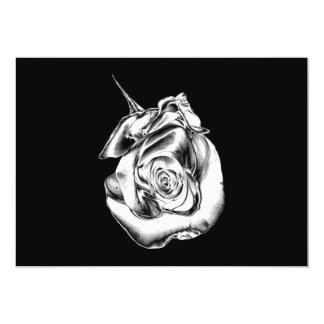 Silver Rose Bud 5x7 Paper Invitation Card