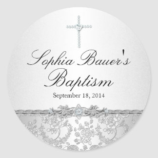 Silver Rose & Cross Baptism Sticker