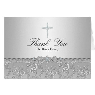 Silver Rose & Cross Baptism Thank You Card
