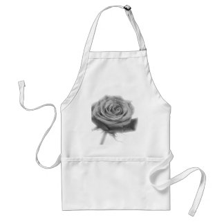 Silver Rose Flower Adult Apron