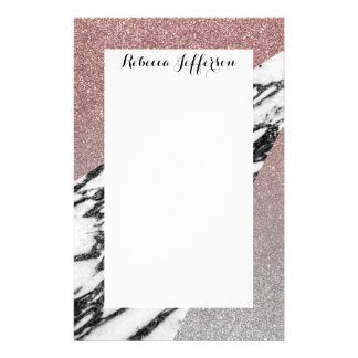 Silver Rose Gold Glitter and Marble Geometric Stationery
