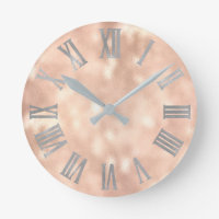 Silver  Rose Gold Minimal Metallic Roman Numers Round Clock