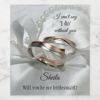 Silver Rose Gold Rings Wedding Wine Label