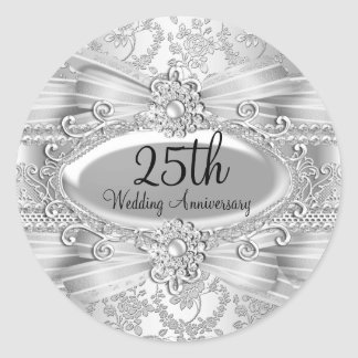 Silver Rose & Jewel 25th Anniversary Sticker