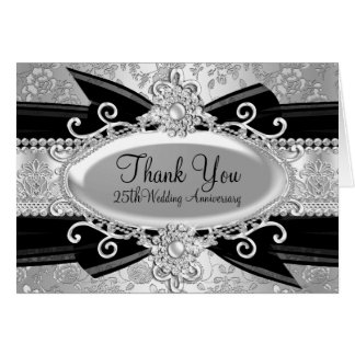Silver Rose & Jewel 25th Anniversary Thank You Stationery Note Card
