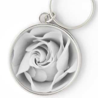 Silver rose large premium keychain