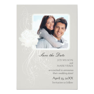 Silver Rose Photo Save the Date Announcement
