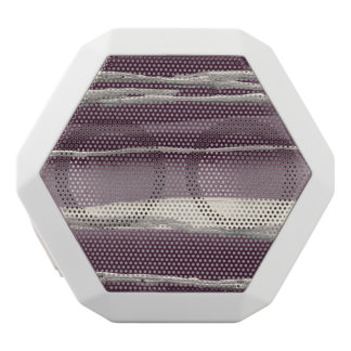 Silver Rose Purple Abstract Print White Bluetooth Speaker
