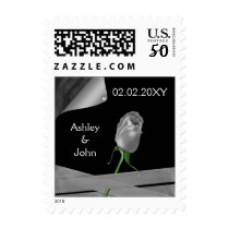 silver rose  romantic wedding stamps