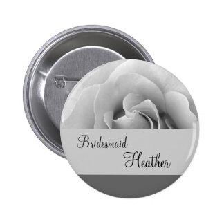 Silver Rose Wedding Bridesmaid Button