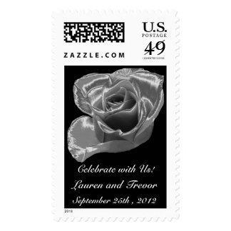 Silver Rose Wedding Stamp