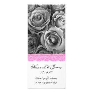 SILVER ROSES and PINK LACE Wedding Program Personalized Rack Card
