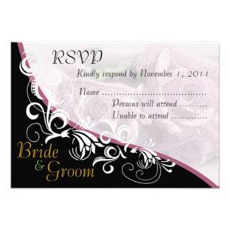 Silver Roses Bride & Groom RSVP Card #2B